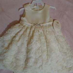 Little girl dress with 3D rose design